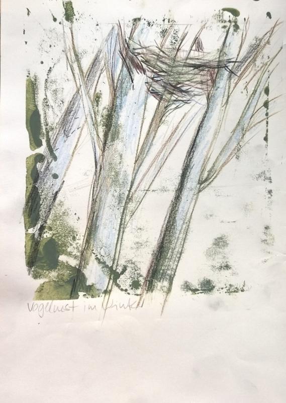 Vogelnest im Winter Mono